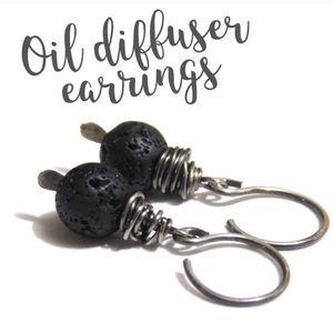 NWT! Lava Rock Oil Diffuser Earring Set/925 Silver